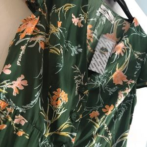 Green Floral Urban Outfitters Jumpsuit